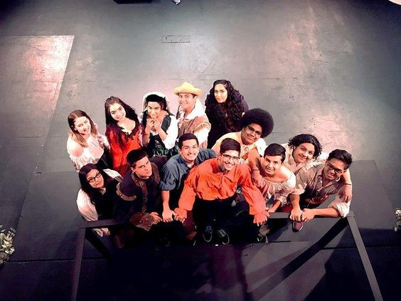 """The East Union High cast staging """"The Complete Works of William Shakespeare (Abridged)."""""""