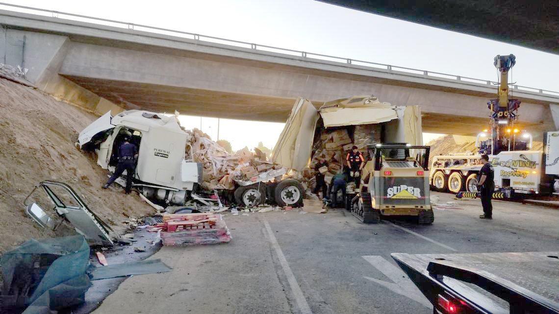 Big rig falls off Highway 99 onto Fulkerth - Turlock Journal